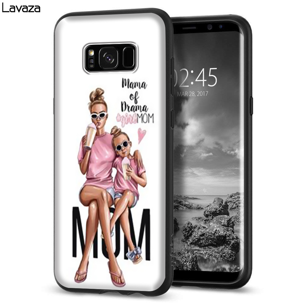 Lavaza Super Mama and baby Girlmom Cute Silicone Case for Samsung S6 Edge S7 S8 Plus S9 S10 Note 8 9 10 M10 M20 M30 M40 in Fitted Cases from Cellphones Telecommunications
