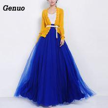 Genuo Tulle Skirts Summer 2018 Women Mesh Full Skirt Elastic High Waist Pleated Long Elegant Party Dancing Ball Wear