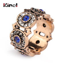 Kinel Turkey Rings For Women Ancient Gold Hollow Vintage Wedding Jewelry Blue Crystal Colorful Resin Stone Ring Anillos Mujer