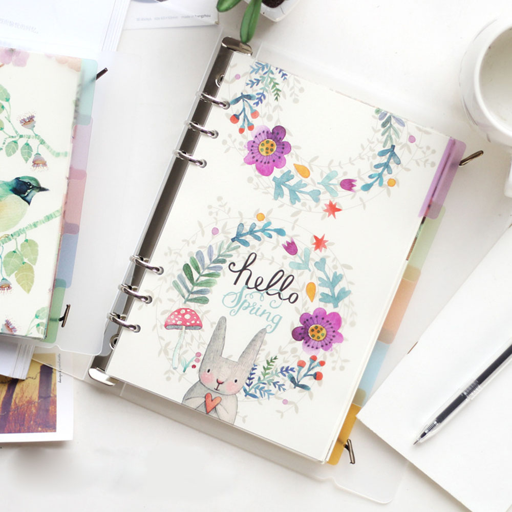 A5 A6 6 Holes Colored Notebook Loose Leaf Transparent PP Separator Pages Notebook Paper Inside Pages