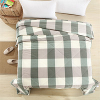 Grey Green Stitching Bedspread Solid Color Summer Quilts Blankets Bed Cover Thin Twin Full Queen King