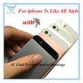 2016 Новый Оригинальный Стекло Назад Крышку Корпуса Для iPhone 5S, Как SE Стиль SE Металл Ближний Крышка Батарейного Отсека Для iPhone 5S + отслеживания