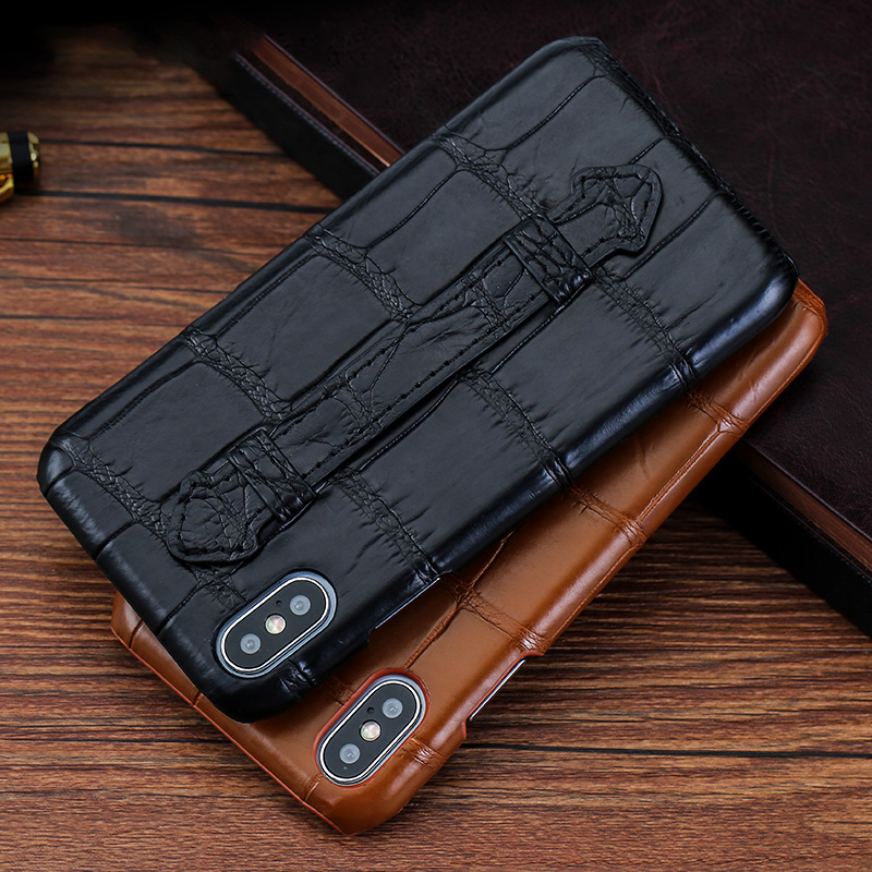 Luxury Crocodile Phone case For iPhone X Xr Xs Max case Natural Crocodile Skin Strap Stand