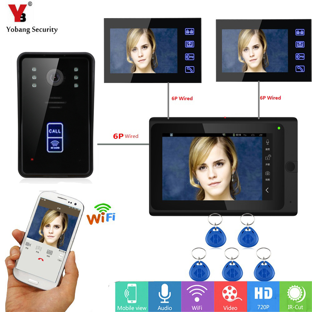 Yobang Security RFID Access Camera 7 Inch LCD Wifi Wireless Video Door Phone Doorbell Intercom 1 Camera 3 Monitor APP ControlYobang Security RFID Access Camera 7 Inch LCD Wifi Wireless Video Door Phone Doorbell Intercom 1 Camera 3 Monitor APP Control
