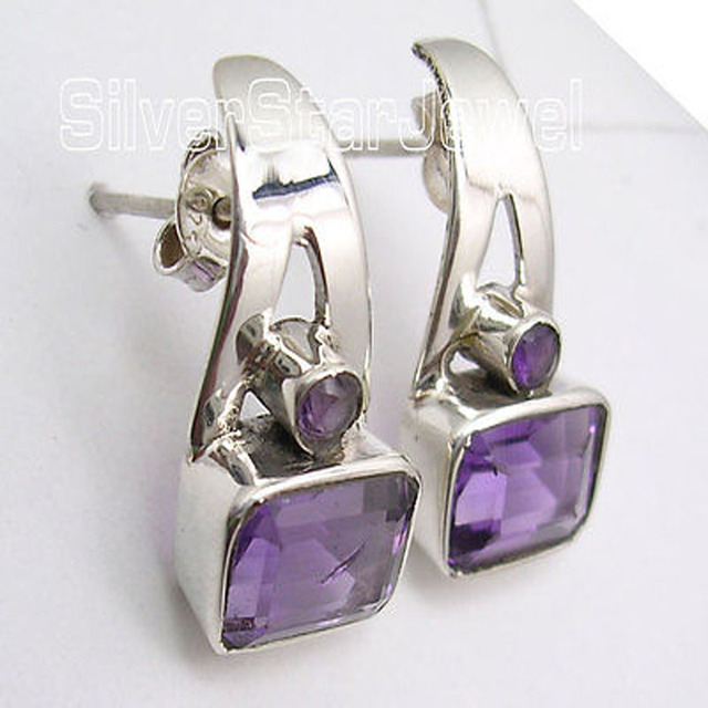Solid Silver Genuine AMETHYST Ancient Style Stud Post Earrings 2CM BRAND NEW