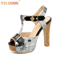 34 45 Platform Sandals Women Sexy 2018 Summer Shoes Extreme High Heel Sandals Women Big Size 11 CM Women Sandals