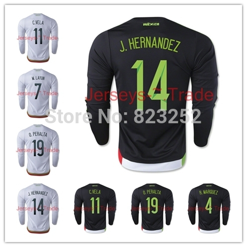 c24a622d1 2015 2016 Jersey Mexico Home Away long sleeve Soccer Jersey  10 G.DOS SANTOS   14 CHICHARITO LS Football shirt-in Soccer Jerseys from Sports    Entertainment ...