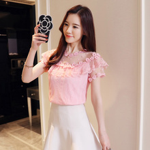 Sexy hollow lace women blouse shirt fashion 2018 new short sleeve summer women tops floral lace women's clothing blusas 0051 30