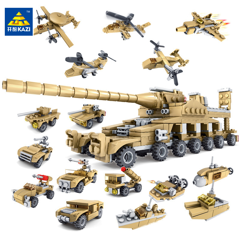 KAZI 544PCS Building Blocks Military Toy Vehicle 16 Assembled 1 Super Tank Army Action Figure Bricks Playmobil Toys for Boys