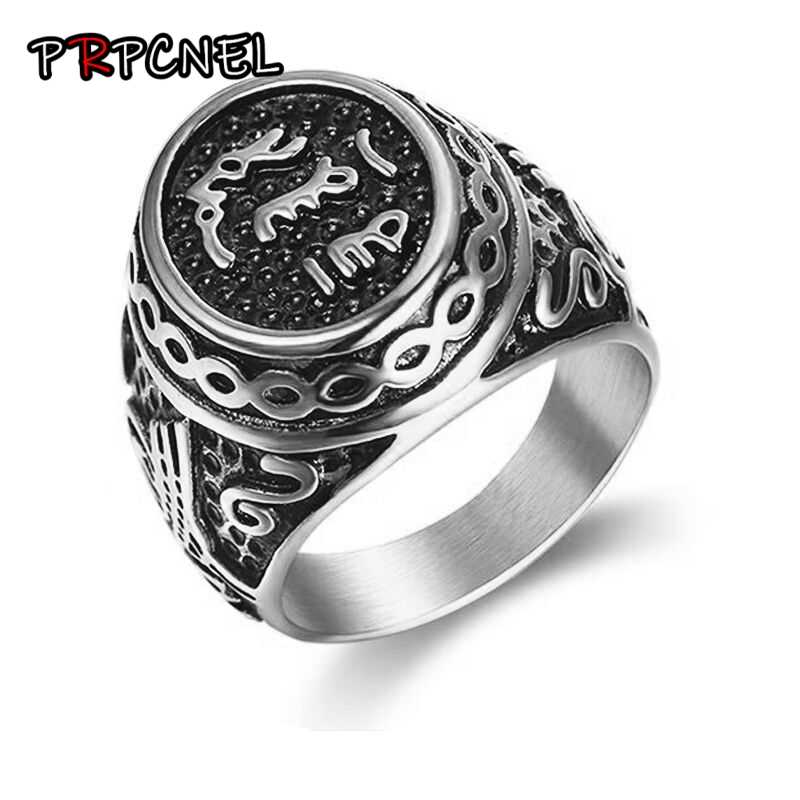 316L Stainless Steel Islamic Shahada Muslim Ring Turkey Quran Aqeeq Allah Arabic For Men Middle Eastern Wedding Engagement Party