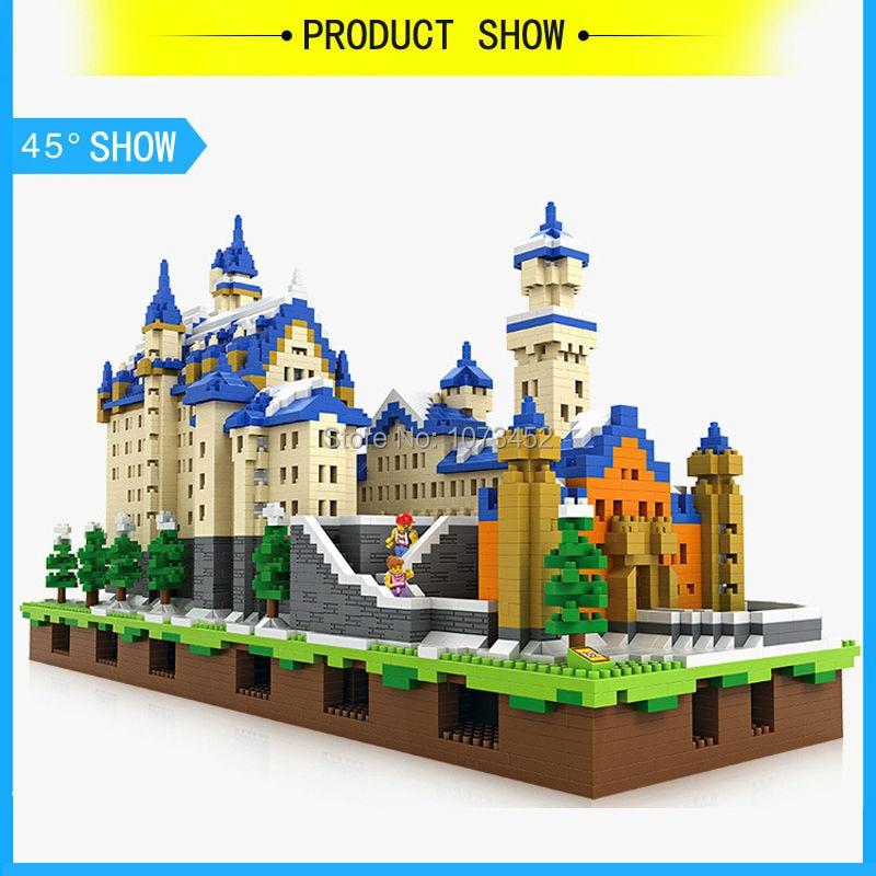 6800 pz blocchi di diamante loz World famous architettura serie di Neuschwanstein modello con effetto di luce e piccole figure - 4