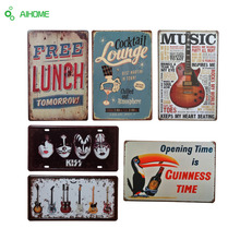 AIHOME Tin Plate Signs LOVE Guitar Movie Poster Art Living Room Cafe Bar Vintage Metal Painting Home Decor Poster Wall Stickers
