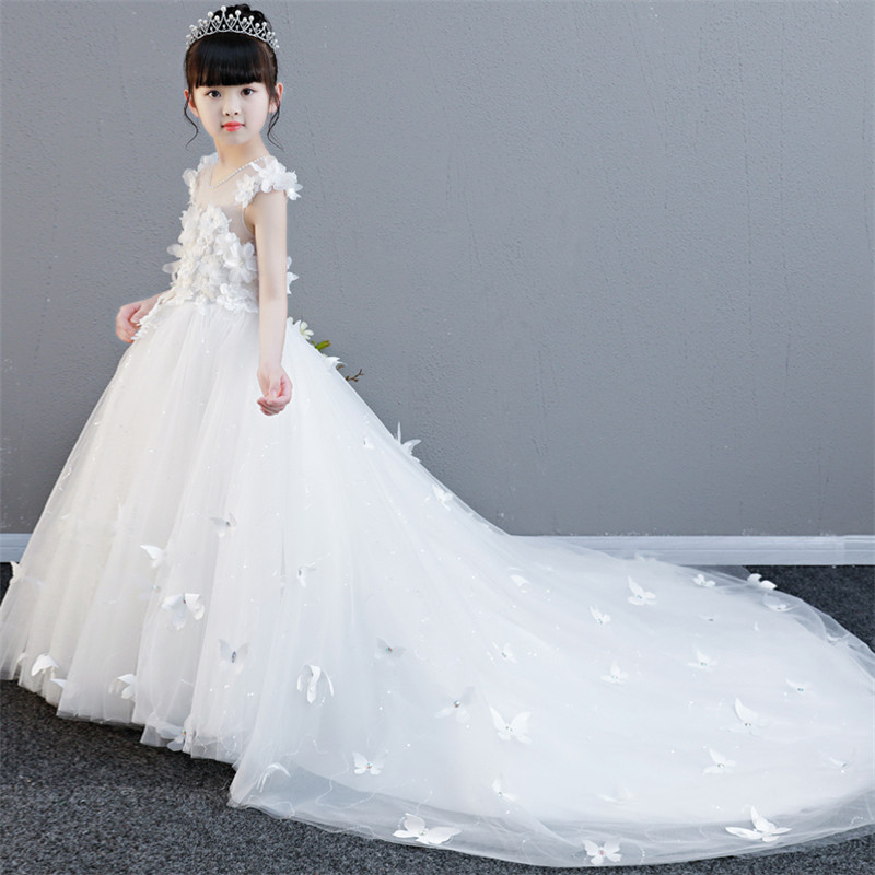 2018New Luxury Noble Girls Children White Color Princess Flowers Birthday Wedding Party Long Tail Dress Kids Teens Pageant Dress new european luxury children girls embroidery flowers long train princess dress for birthday wedding party kids pageant dress