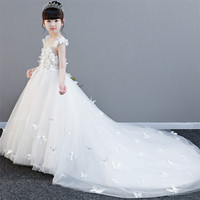 2018New Luxury Noble Girls Children White Color Princess Flowers Birthday Wedding Party Long Tail Dress Kids Teens Pageant Dress
