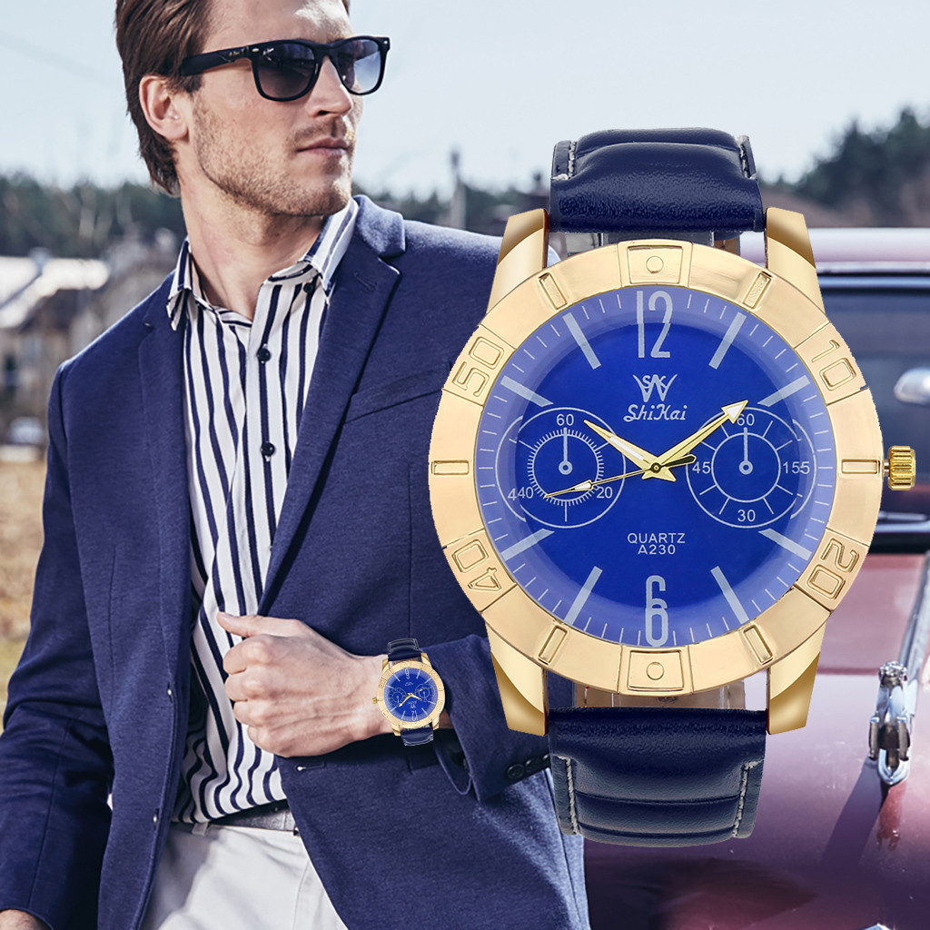 man watch 2019 Luxury Men Business Watch Large Dial Watch Fashion Quartz Leather Belt Watch man watch 2019 man watch 2019
