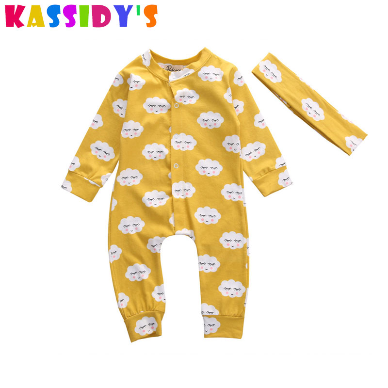 KASSIDYS Summer Newborn Baby Rompers 100% Cotton Cartoon Cloud Infant Jumpsuits Summer Baby Clothes Long Sleeve Baby Girls Romp