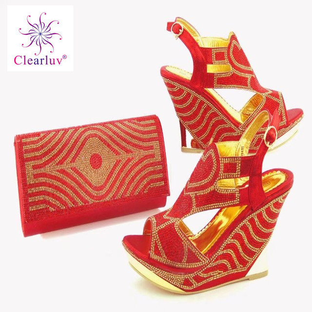 Clearluv red Wedding shoes and bag set decorated with flower crystal  Italian shoe with matching bag new design bigger size 41e4524d663d