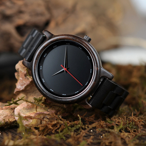 Image 5 - BOBO BIRD V P10 ساعات الرجال الطبيعية الأسود خشبية الأبنوس كوارتز موضة ساعة اليد مع الأحمر من جهة ثانية