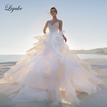 Liyuke Lustrous  Organza Tulle Skirt With Beading A-Line Wedding Dresses Court Train Luxury Gown