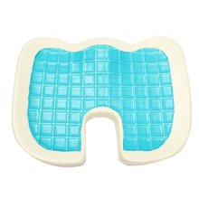 46x35x7.5 cm de Espuma de Memoria Azul/Blanco Enfriamiento Gel Comfort Cojín de Asiento Silla Almohada Hermosa Nalga Cojín de Esponja Pad