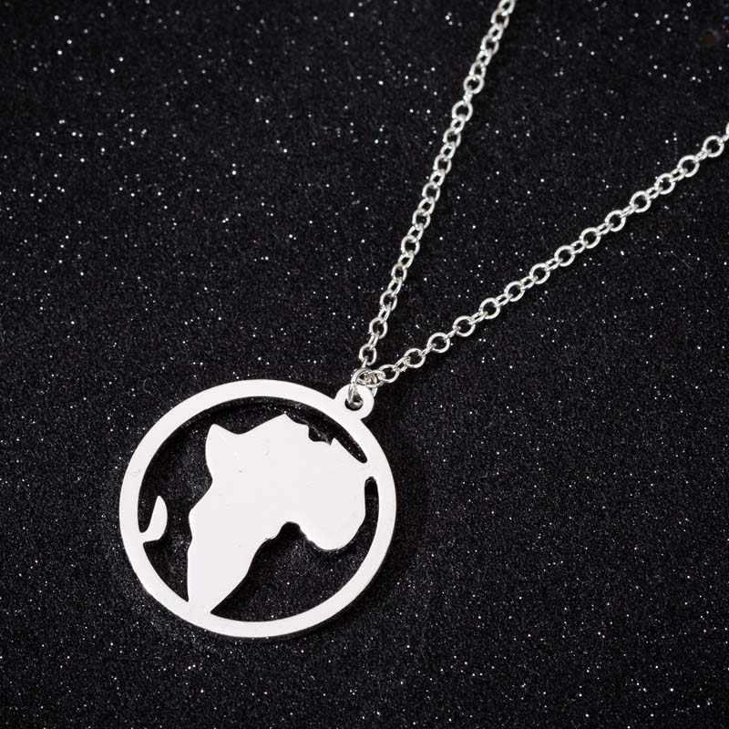 Yiustar עגול צורת דרום אפריקה מפת עולם שרשרת נירוסטה בציר גיאומטרי שרשראות תליוני מעגל תכשיטי קולר