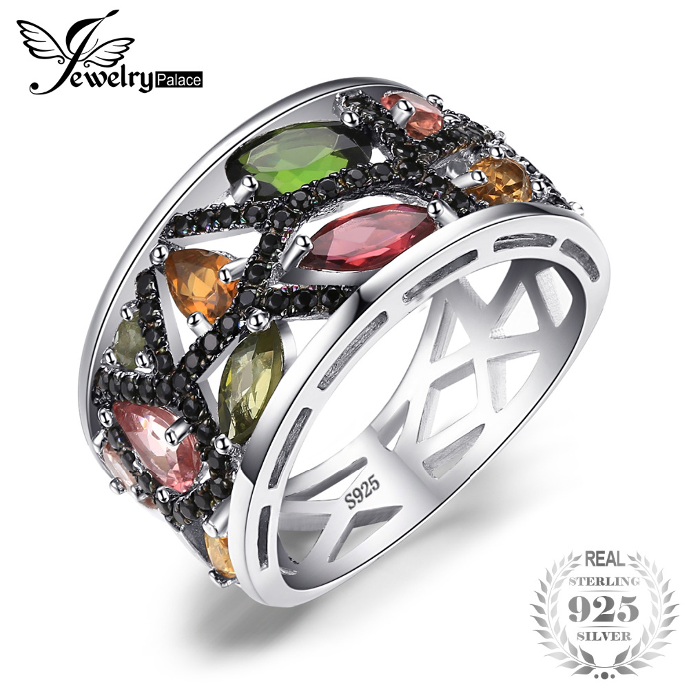 JewelryPalace Halloween 2.3ct Multicolor Genuine Tourmaline Black Spinel Cocktail Ring 925 Sterling Silver Gifts For Her Fashion