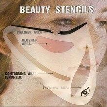 2pcs Eyeliner Eye shadow Stencil 3 in 1 Cat Eyes Cosmetic Tool Card Shape Template Model brow Makeup
