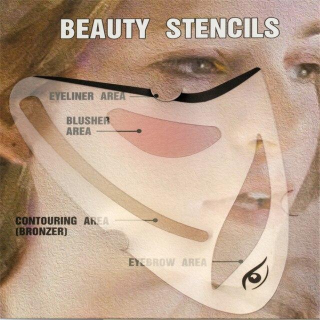 2pcs Eyeliner Eye shadow Stencil 3 in 1 Cat Eyes Cosmetic Tool Card Cat Eyeliner Shape Template Model Tool Eye brow Makeup Tool