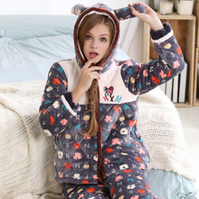 Cotton-padded Winter Thickening Coral Fleece Sleepwear Female Long-sleeve Thermal Sweet Lounge With A Hood