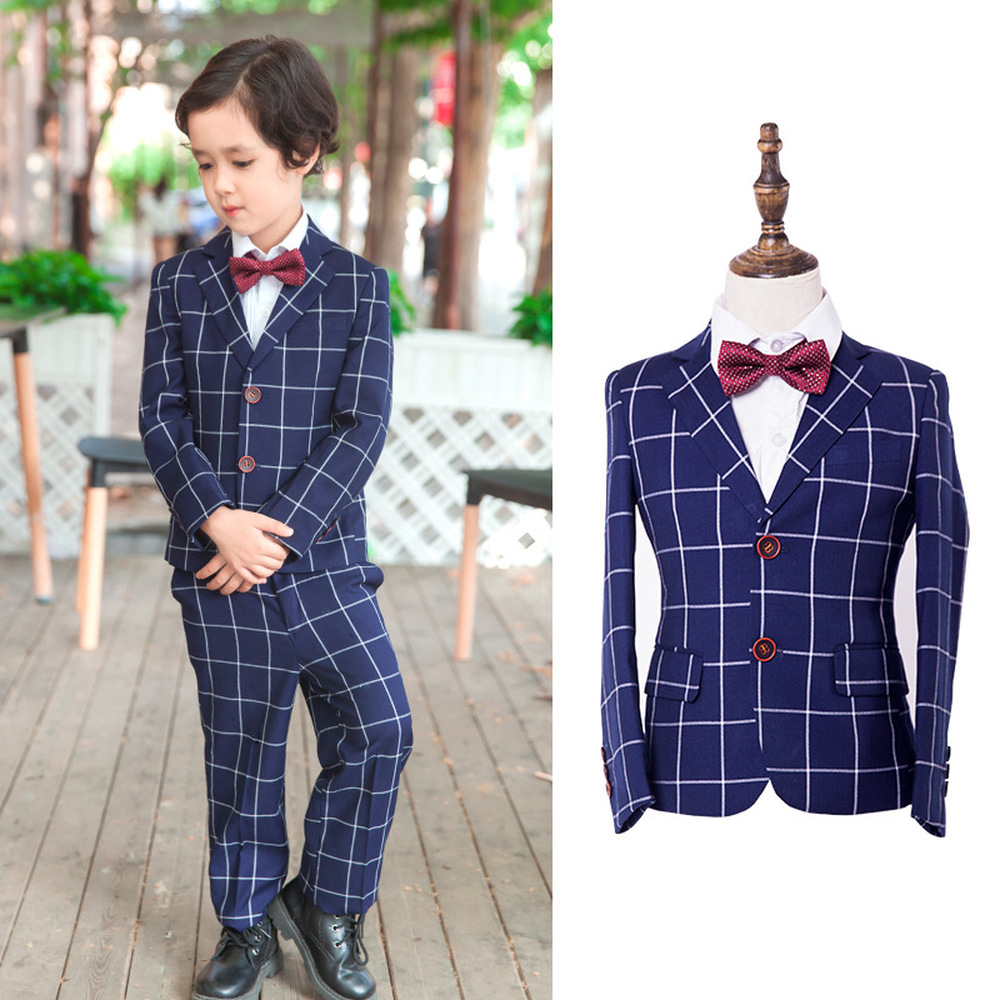 High Quality Childrens Wear Boys 4 Years To 10t 12t Plaid Blazer + Boys Prom Formal Pant + Vest Suits for Weddings BlueHigh Quality Childrens Wear Boys 4 Years To 10t 12t Plaid Blazer + Boys Prom Formal Pant + Vest Suits for Weddings Blue