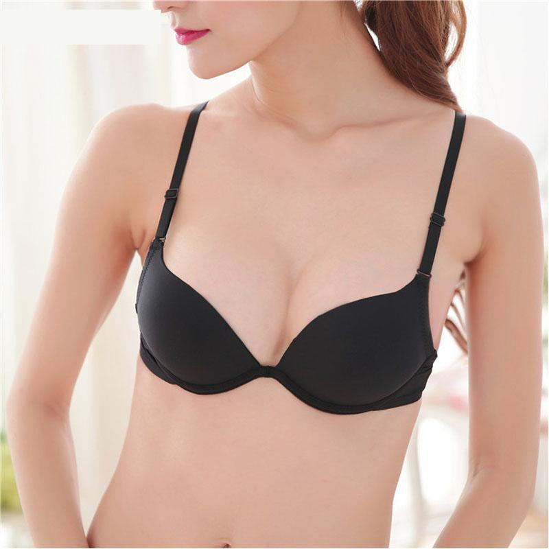 Black color small chest push up bra Plunge u thin cup push up bra sexy brassiere underwire support chest women bra girl sexy bra