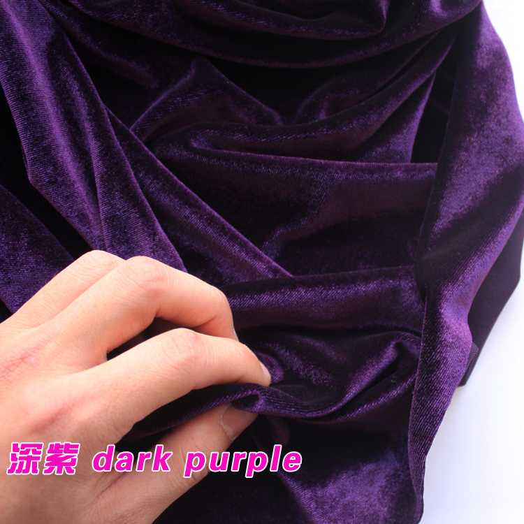 Dark Purple Silk Velvet Fabric Velour Fabric Pleuche Fabric Clothing Fabric Evening Wear Sports Wear Sold By The Yard