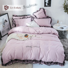 Liv-Esthete Luxury Beauty Light Purple Bedding Set Lace Duvet Cover Flat Sheet Bed Double Queen King Linen For Girl