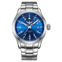 YELANG V1021 Авиатор Serier T100 Тритий труб + флуоресцентные номера 100 м Водонепроницаемый Нержавеющаясталь ремешок Мужские кварцевые наручные часы