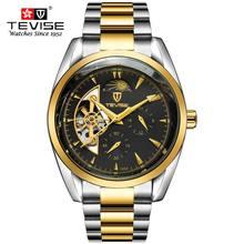 Offre spéciale automatique squelette mécanique montre hommes Antique classique or en acier inoxydable analogique montres Horloges Mannen