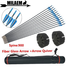 12pcs Spine 900 Archery Fiberglass Arrows With Arrow Quiver Fixed Arrowhead OD6mm 80cm Outdoor Shooting Accessories