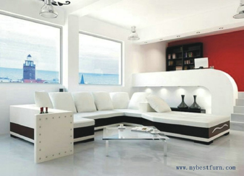 Free shipping u shaped 2 color leather sofa high quality for U shaped living room