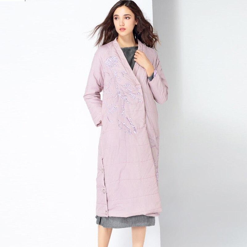 YNZZU 2019 новая зимняя коллекция брендовый толстый женский пуховик с вышивкой в китайском стиле, винтажные женские парки, пальто A1083 - 3