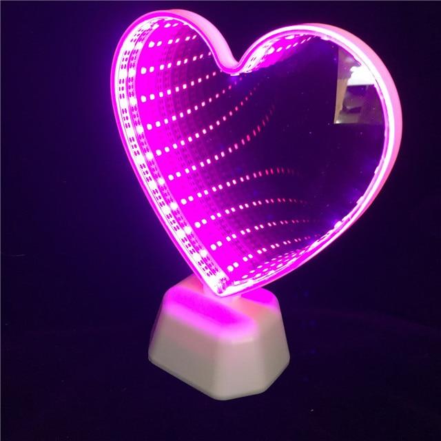 Leedome 3D Creative Novelty Cactus Unicorn Tunnel Lamps Infinity Mirror Light LED NightLamp Cute Heart Night Light For Home Led 1