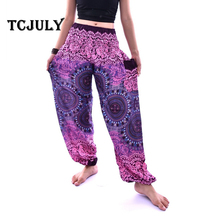 aec51890fcbe TCJULY Thailand Design Indian Compass Printed Smooth Rayon Silk Harem Pants  With Inside Pockets High Waist Loose Casual Bloomers