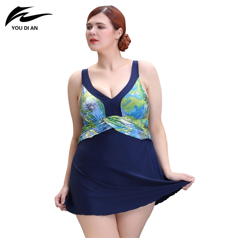 2017 New One Piece Swimsuit Push Up Plus Size Swimwear Women Summer Sexy Beach Dress Large Size Bathing Suit Swimming Dress women one piece triangle swimsuit cover up sexy v neck strappy swimwear dot dress pleated skirt large size bathing suit 2017
