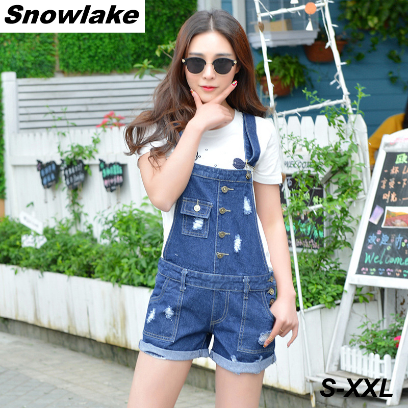 ФОТО Snowlake Spring of 2017 New Women's Retro Flanging Hole Denim Jeans Short Overalls Pants