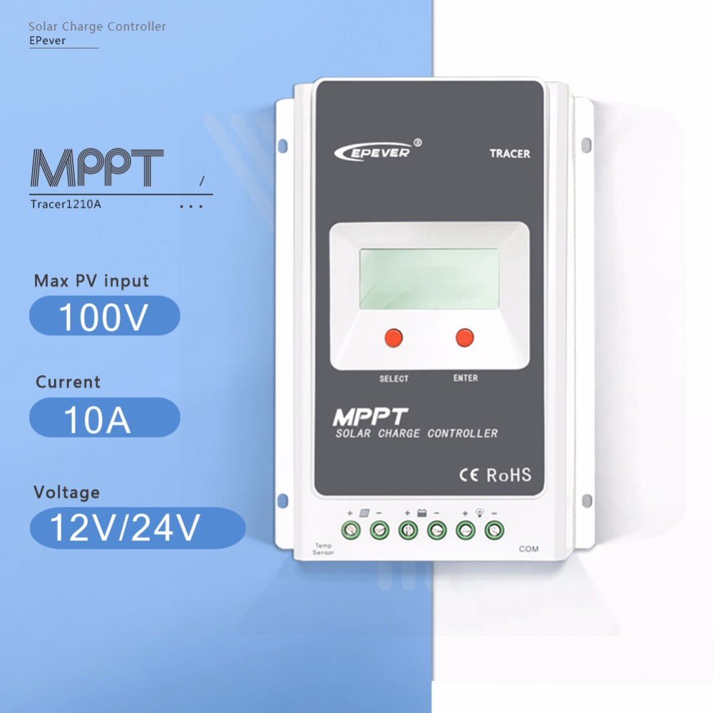 MPPT 10A Tracer 1210A Solar Charge Controller 12V/24V Auto Solar Panel Battery Charge System Regulator with Big LCD Display 100w 12v monocrystalline solar panel for 12v battery rv boat car home solar power