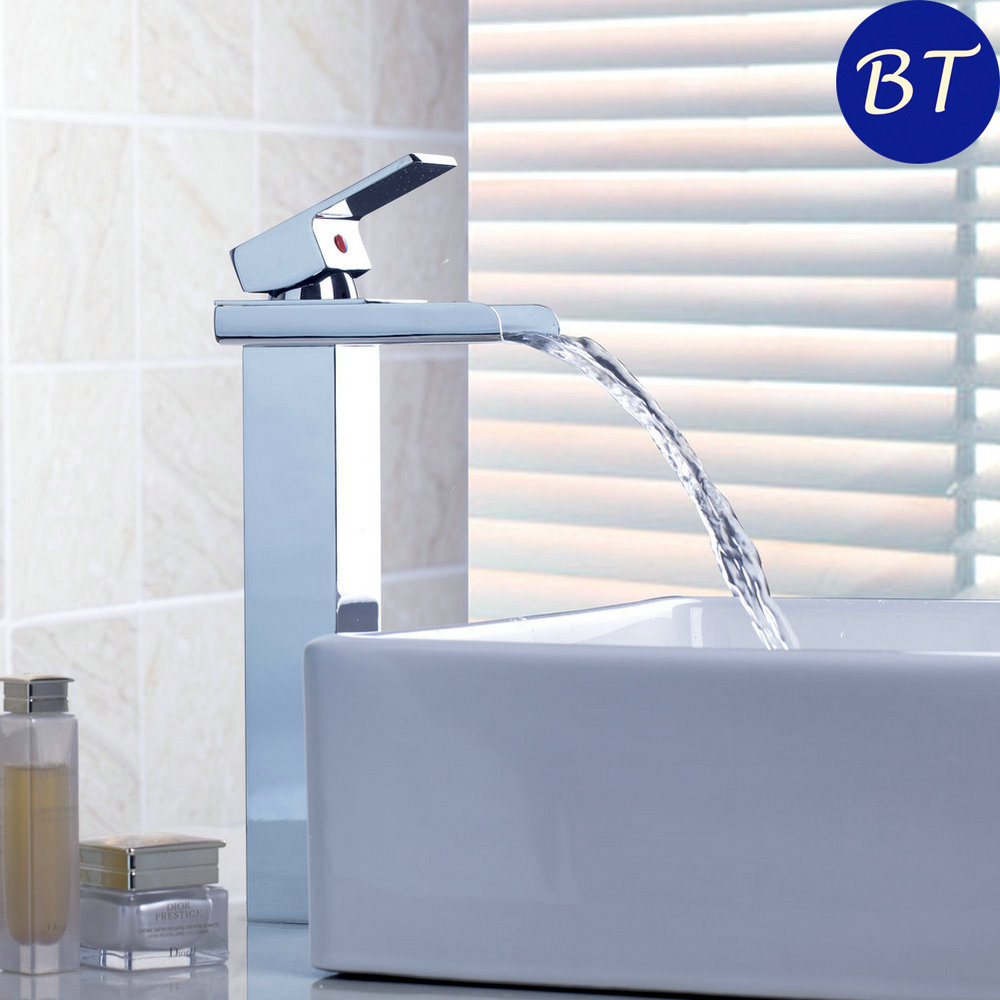 Waterfall Bathroom Basin Sink Brass Mixer Tap Vanity Faucet Chrome Finish New Single Handle with Wide Spout fie new shower faucet set bathroom faucet chrome finish mixer tap handheld shower basin faucet