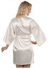 Sexy Yukata Night Robe Short Satin Wedding Bride Bridesmaid Robes With Clear Rhinestones-Bride&Bridesmaid Edition Dressing Gown(China)