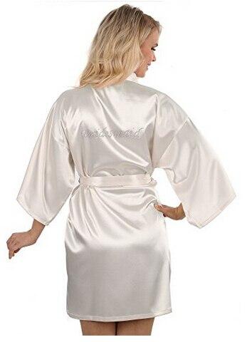 Sexy yukata noche robe corto satén novia boda dama Albornoces con claro Diamantes con piedras falsas-la novia y edición de dama de honor vestido