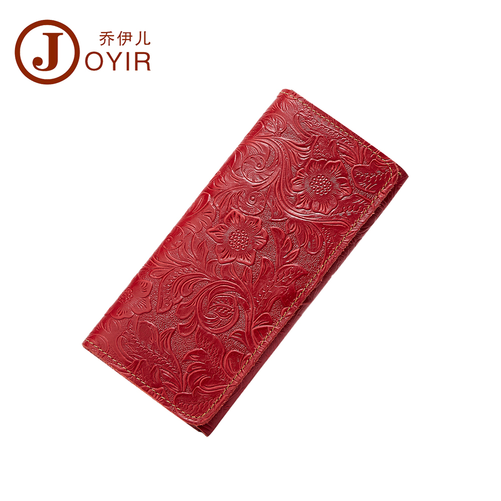 JOYIR Embossed Flowers Genuine Leather Women Wallet Brand Design Fashion Long Purse Clutch Coin Purse Card Holder Lady Female025 joyir embossed flowers genuine leather women wallets brand design fashion long purse clutch coin purse card holder lady female27