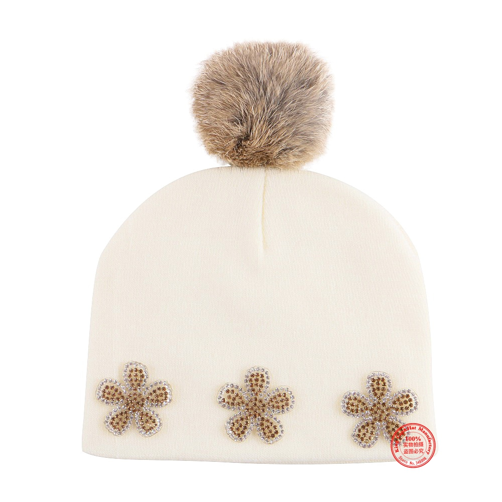 0-2 year old baby beauty knitted winter hat girl boy floral beanie cap mix colorful cotton thermal skullies children gorros cap