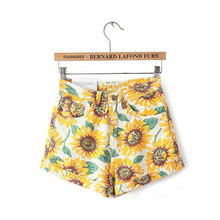 Sexy Sunflower Printing Ertical Striped Elastic Waist Self Tie Front Shorts Womens Grey High Waist Shorts Summer Straight Shorts(China)