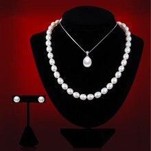 2016 Conjuntos de Joyería de Perlas Gota de Agua Perlas de Agua Dulce Naturales Enviar La Cadena de Plata de Ley 925 de Plata Para Las Mujeres